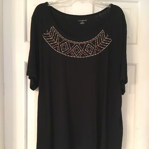 Catherine's Short Sleeve Black Tunic Top